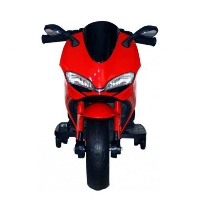 Детский электромотоцикл Ducati 12V- FT-1628 красный (колеса светящиеся, сиденье кожа, музыка, страховочные колеса)